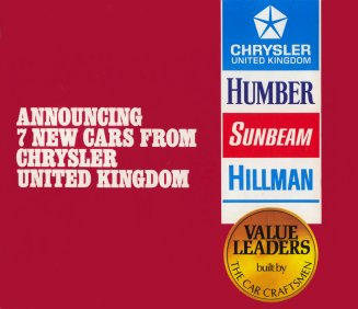 Announcing 7 new cars from Chrysler United Kingdom: new Avenger GT; six new Hunters