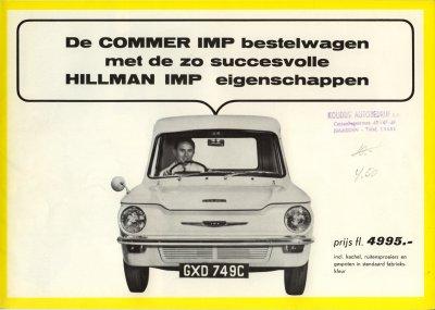De Commer Imp bestelwagen met de zo succesvolle Hillman Imp eigenschappen