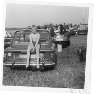 7476 VC, young Tony Beck on the engine lid of his father's Imp